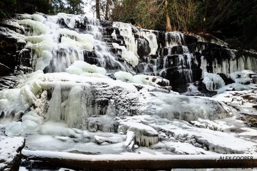 Moses Creek Falls frozen over