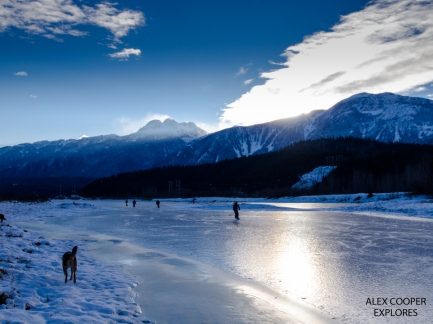 Skating on the greenbelt in Revelstoke