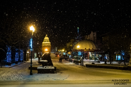 Revelstoke's Grizzly Plaza in winter