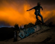 Revelstoke skateboard park at sunset