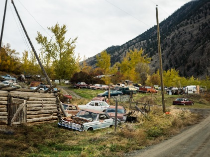 A junkyard on the road up from the Big Bar Ferry.