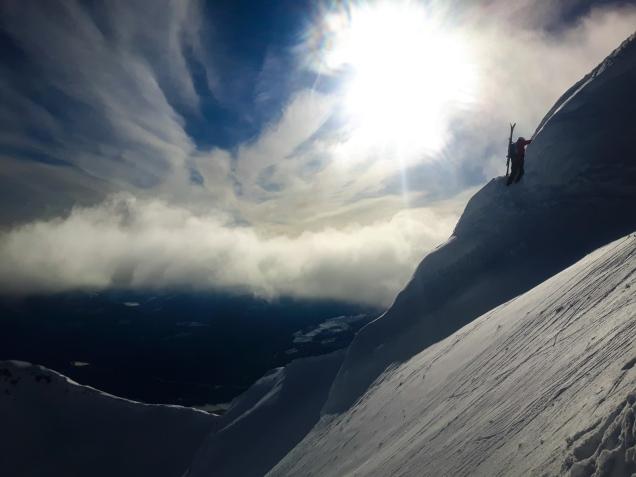 Pat eases his way across the summit ridge.