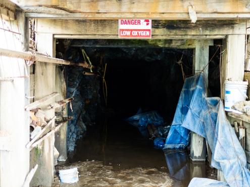 An abandoned mine shaft.